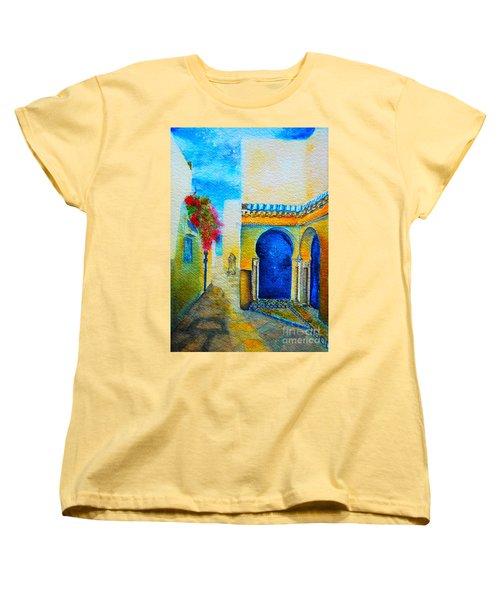 Women's T-Shirt (Standard Cut) featuring the painting Mediterranean Medina by Ana Maria Edulescu