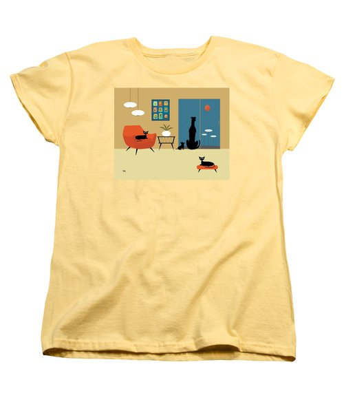 Mid Century Dogs And Cats Women's T-Shirt (Standard Cut)