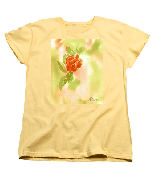 Women's T-Shirt (Standard Cut) featuring the painting Miniature Red Rose II by Kip DeVore