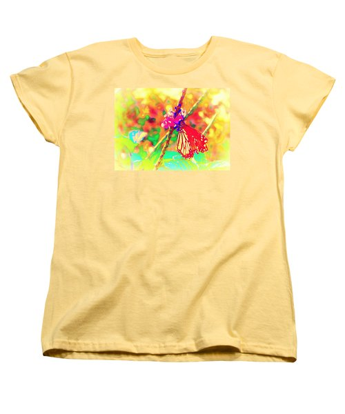 Women's T-Shirt (Standard Cut) featuring the painting Monarch Butterfly  by David Mckinney