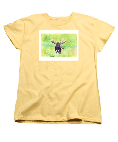 Women's T-Shirt (Standard Cut) featuring the painting Moose In Flowers by C Sitton