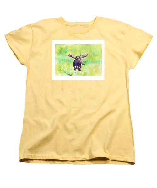 Moose In Flowers Women's T-Shirt (Standard Cut) by C Sitton