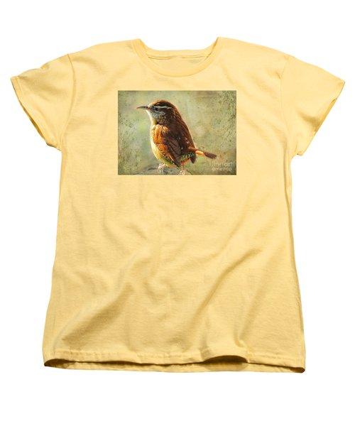 Morning Carolina Wren Women's T-Shirt (Standard Cut) by Debbie Portwood
