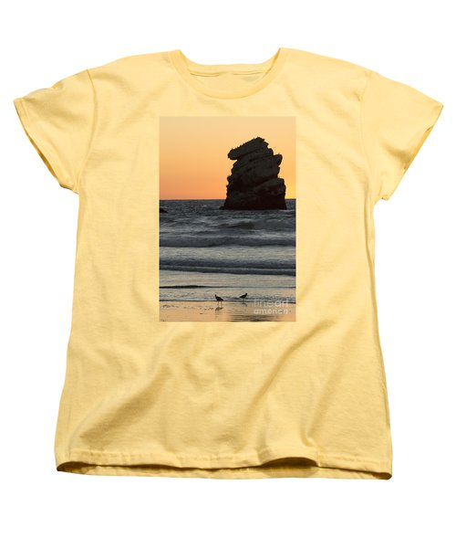 Morro Beach Sunset Women's T-Shirt (Standard Cut) by Terry Garvin