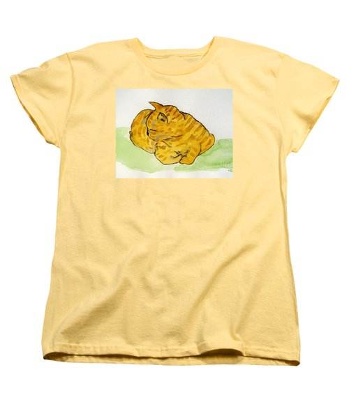 Women's T-Shirt (Standard Cut) featuring the painting Mr. Yellow by Reina Resto