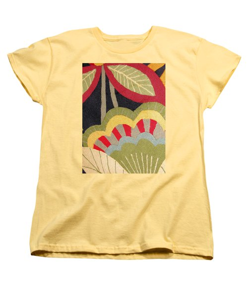Women's T-Shirt (Standard Cut) featuring the photograph Multi-colored Flowers Leaves Textile by Janette Boyd