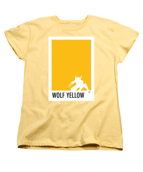 My Superhero 05 Wolf Yellow Minimal Poster Women's T-Shirt (Standard Cut)