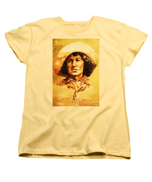 Women's T-Shirt (Standard Cut) featuring the painting Nat Love Bronc Buster by Al Brown