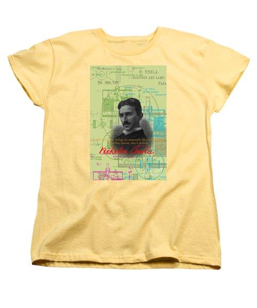 Nikola Tesla #3 Women's T-Shirt (Standard Cut) by Jean luc Comperat