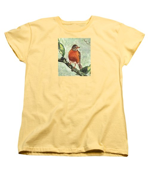 Women's T-Shirt (Standard Cut) featuring the painting North American Robin by Angela Davies