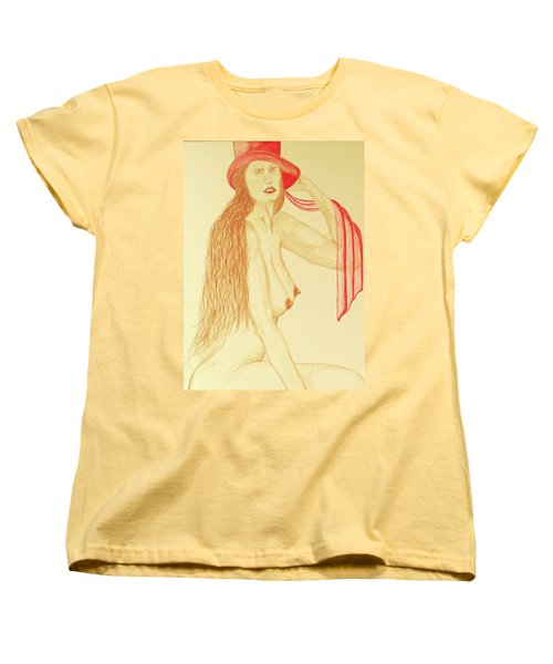 Nude With Red Hat Women's T-Shirt (Standard Cut) by Rand Swift