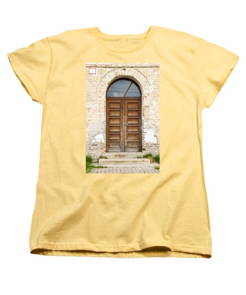 Women's T-Shirt (Standard Cut) featuring the photograph Old Church Door by Les Palenik