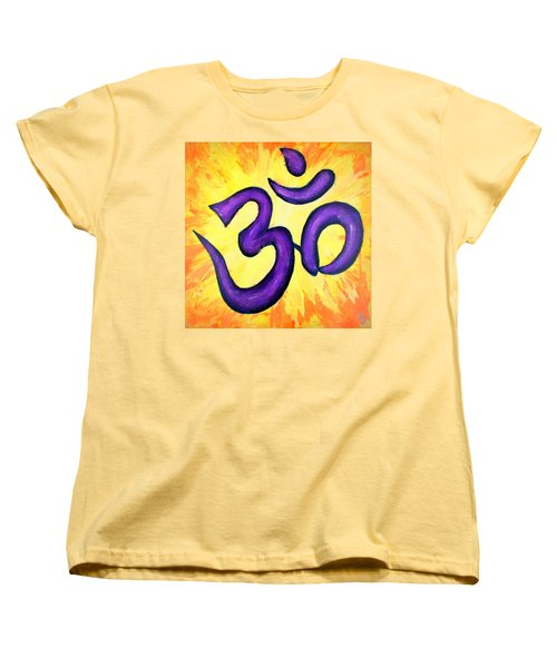 Women's T-Shirt (Standard Cut) featuring the painting Om Symbol Art Painting by Bob Baker