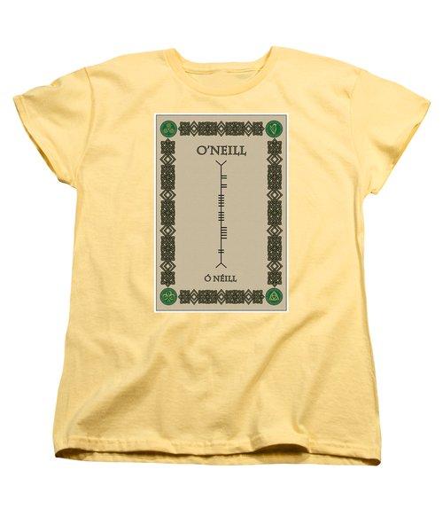 Women's T-Shirt (Standard Cut) featuring the digital art O'neill Written In Ogham by Ireland Calling