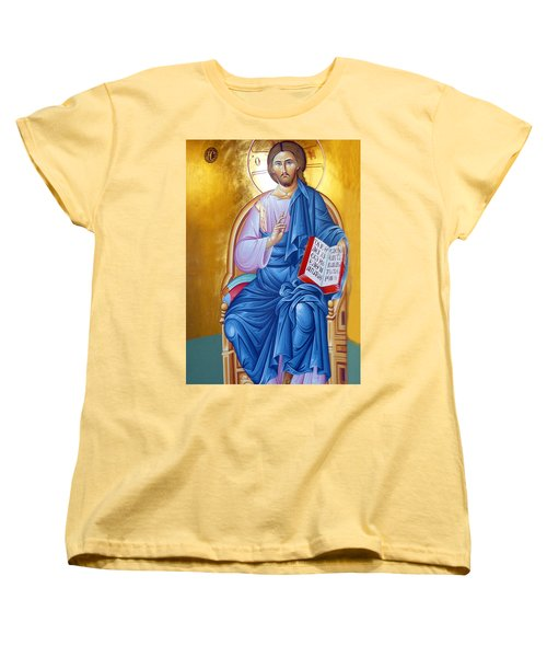 Orthodox Icon Of Jesus In Blue Women's T-Shirt (Standard Cut) by Munir Alawi