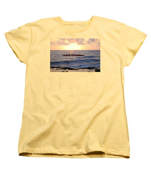 Outrigger Canoe At Sunset In Kailua Kona Women's T-Shirt (Standard Cut) by Catherine Sherman