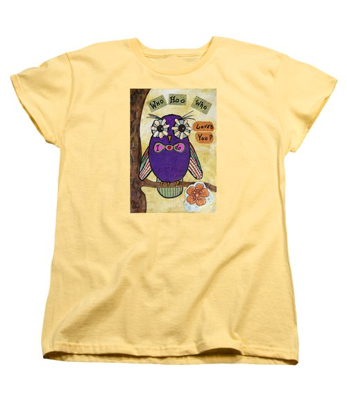 Owl Love Story - Whimsical Collage Women's T-Shirt (Standard Cut) by Ella Kaye Dickey