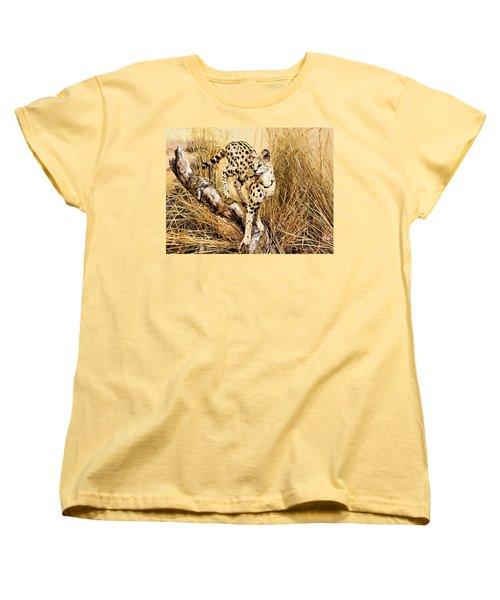 Painted Cheetah Women's T-Shirt (Standard Cut) by Kristin Elmquist