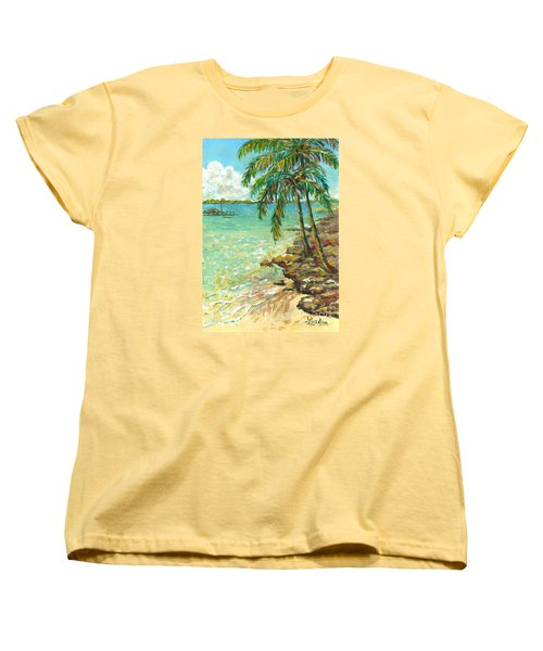 Palms On Point Of Rocks Women's T-Shirt (Standard Cut) by Lou Ann Bagnall