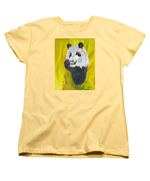 Women's T-Shirt (Standard Cut) featuring the painting Panda-monium by Meryl Goudey