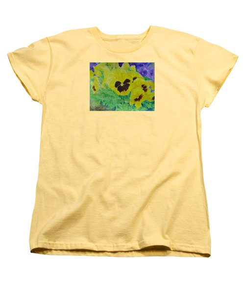 Pansies Colorful Flowers Floral Garden Art Painting Bright Yellow Pansy Original  Women's T-Shirt (Standard Cut) by Elizabeth Sawyer