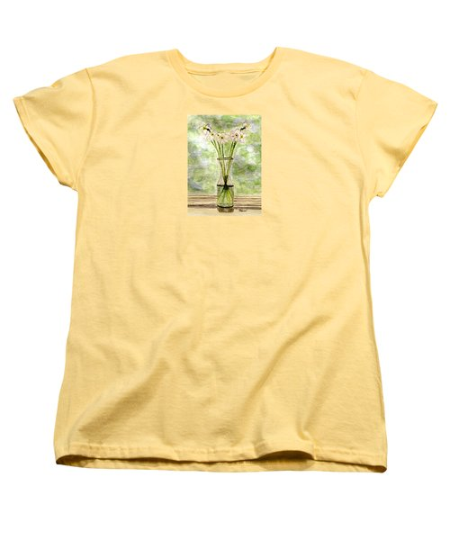 Women's T-Shirt (Standard Cut) featuring the painting Paper Whites In Sunlight by Angela Davies