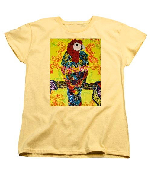 Women's T-Shirt (Standard Cut) featuring the tapestry - textile Parrot Oshun by Apanaki Temitayo M