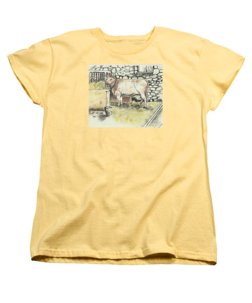 Cow In A Barn Women's T-Shirt (Standard Cut)