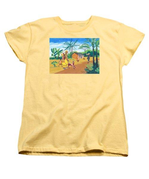 Women's T-Shirt (Standard Cut) featuring the painting Paysage Du Sud Du Cameroon by Emmanuel Baliyanga