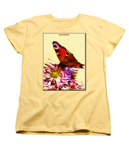 Women's T-Shirt (Standard Cut) featuring the digital art Peacock Butterfly by Daniel Janda