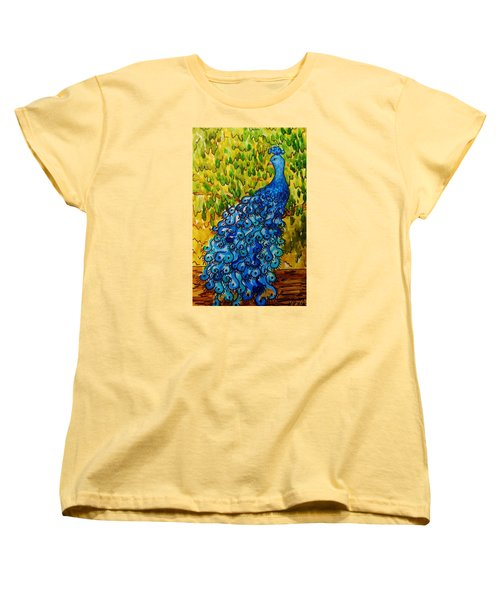 Women's T-Shirt (Standard Cut) featuring the painting Peacock by Katherine Young-Beck