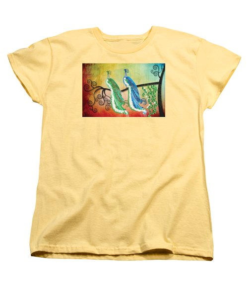 Peacock Love Women's T-Shirt (Standard Cut) by Kim Prowse