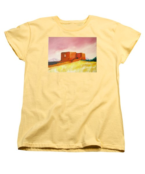 Women's T-Shirt (Standard Cut) featuring the painting Pecos Mission Nm by Eric  Schiabor