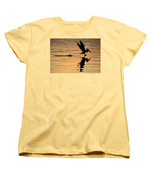 Pelican At Sunrise Women's T-Shirt (Standard Cut) by Leticia Latocki