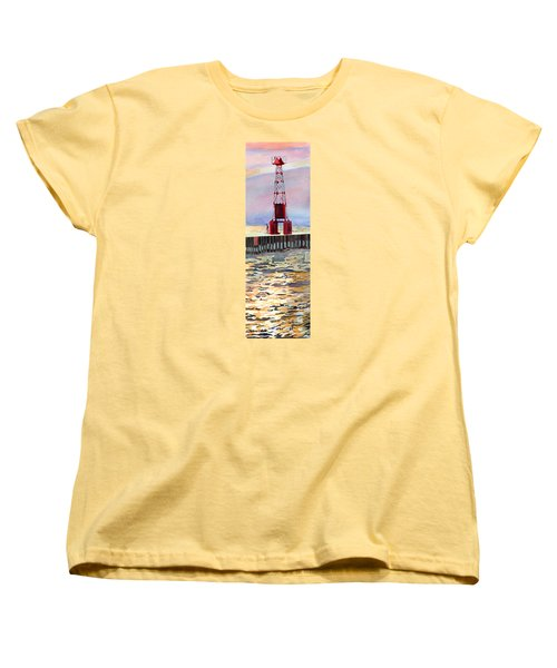 Women's T-Shirt (Standard Cut) featuring the painting Pentwater South Pier by LeAnne Sowa
