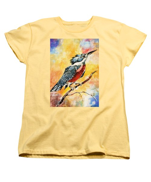 Women's T-Shirt (Standard Cut) featuring the painting Perched Kingfisher by Al Brown
