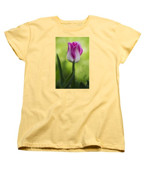 Pink And White Tulip Women's T-Shirt (Standard Cut) by Shelly Gunderson