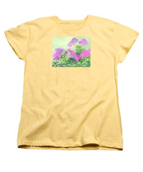 Pink Petunias Beautiful Flowers Art Colorful Original Garden Floral Flower Artist K. Joann Russell  Women's T-Shirt (Standard Cut) by Elizabeth Sawyer