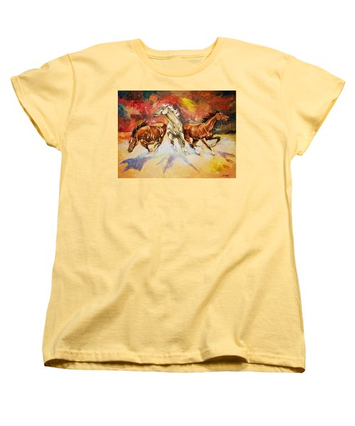 Women's T-Shirt (Standard Cut) featuring the painting Plains Thunder by Al Brown