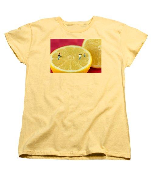 Playing Baseball On Lemon Women's T-Shirt (Standard Cut) by Paul Ge
