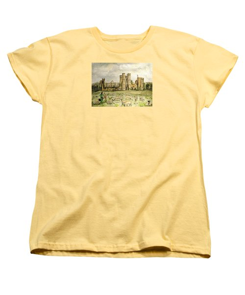 Plein Air Painting At Cowdray House Sussex Women's T-Shirt (Standard Cut) by Angela Davies