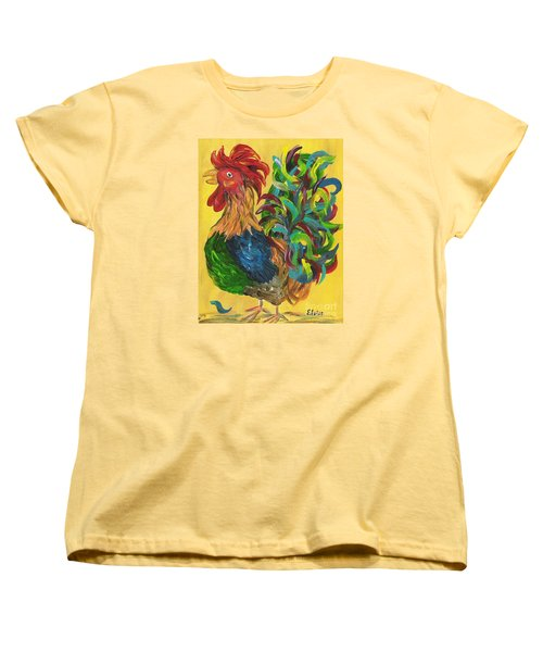 Women's T-Shirt (Standard Cut) featuring the painting Plucky Rooster  by Eloise Schneider