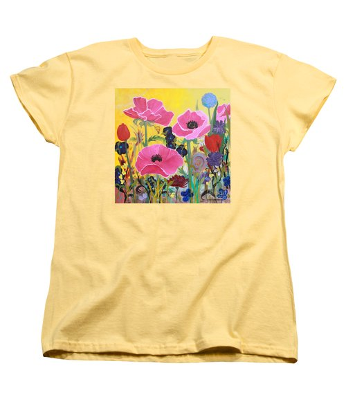 Poppies And Time Traveler Women's T-Shirt (Standard Cut) by Robin Maria Pedrero