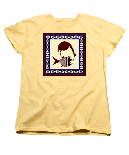 Women's T-Shirt (Standard Cut) featuring the digital art Pre-columbian Stork Fish by Vagabond Folk Art - Virginia Vivier