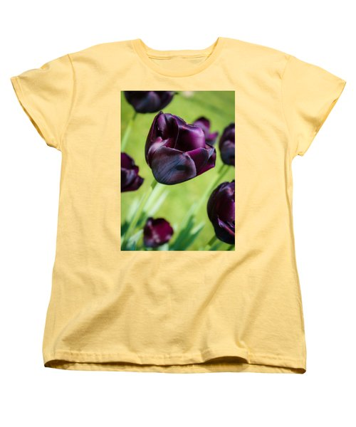 Women's T-Shirt (Standard Cut) featuring the photograph Queen Of The Night Black Tulips by Peta Thames
