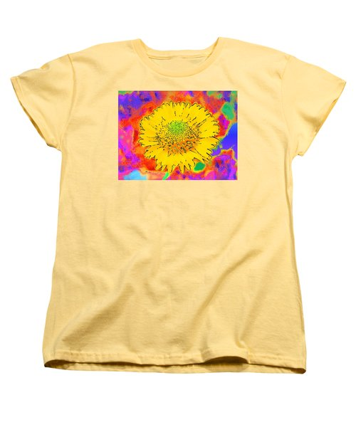 Rainbow Colored Sunshine Flower- Because I'm Happy Women's T-Shirt (Standard Cut) by David Mckinney