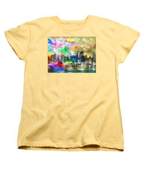 Rainbow Nyc Skyline Women's T-Shirt (Standard Cut)