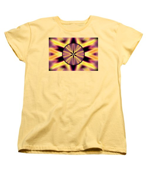 Women's T-Shirt (Standard Cut) featuring the drawing Rainbow Seed Of Life by Derek Gedney