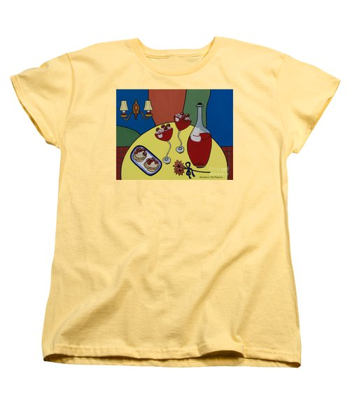 Women's T-Shirt (Standard Cut) featuring the painting Raspberry Wine by Barbara McMahon
