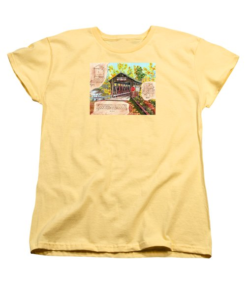 Women's T-Shirt (Standard Cut) featuring the painting Rebuild The Bridge by LeAnne Sowa